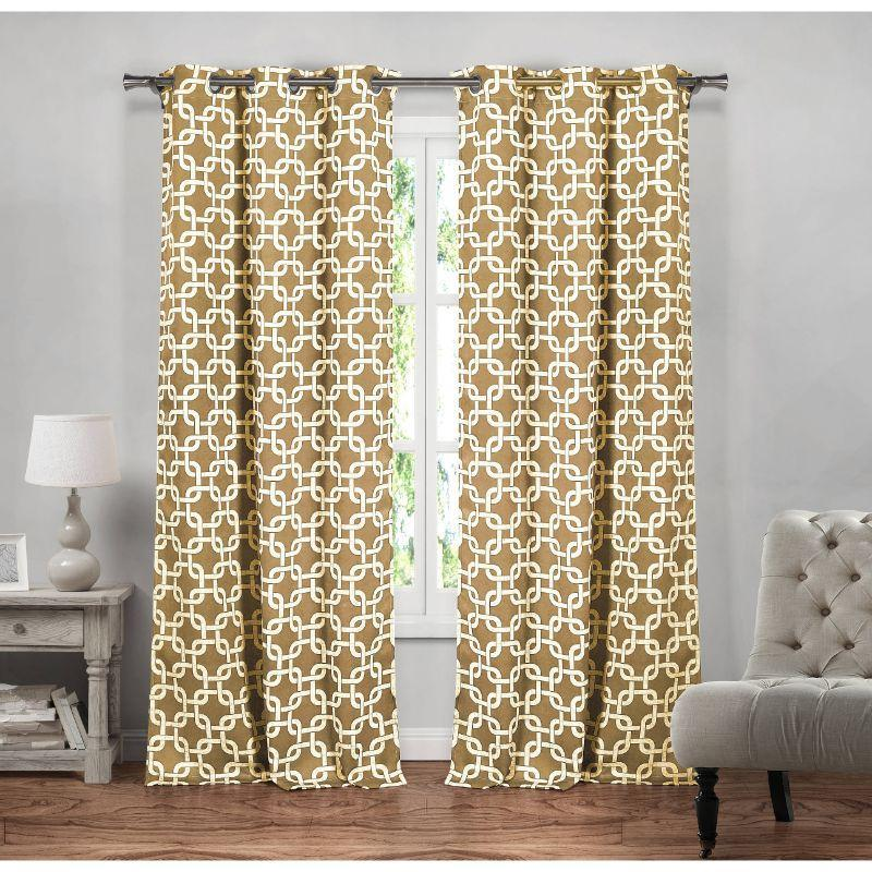 "Heavy Geometric Blackout Thermal Grommet Window Curtains 38x84"" - 2 Pack-Wheat-"