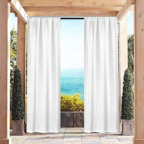 "Heavy-Textured Indoor-Outdoor Blackout Curtains 38x96"" Pair Panel - 2 Pack-White-"