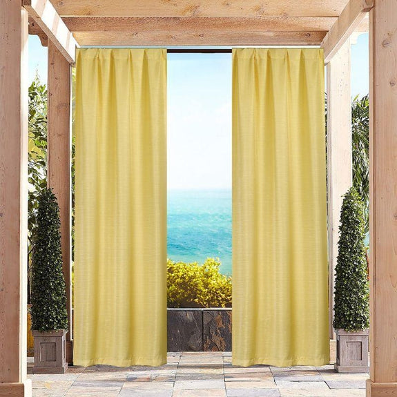 "Heavy-Textured Indoor-Outdoor Blackout Curtains 38x96"" Pair Panel - 2 Pack-Yellow-"