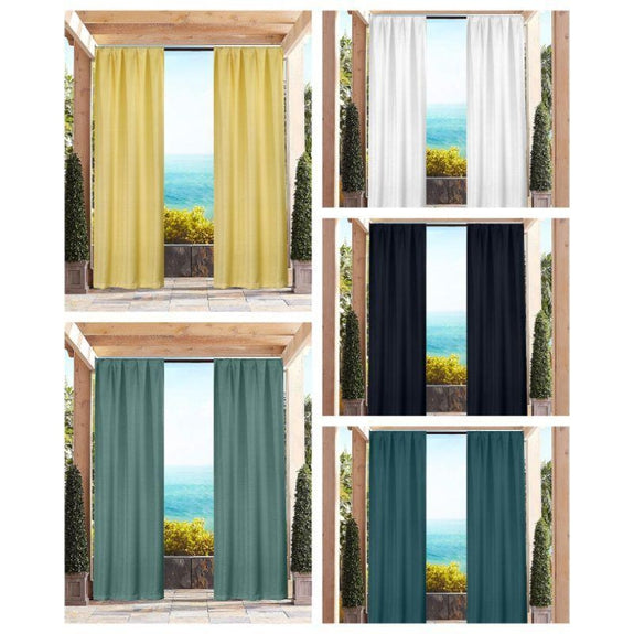 "Heavy-Textured Indoor-Outdoor Blackout Curtains 38x96"" Pair Panel - 2 Pack-Navy-"