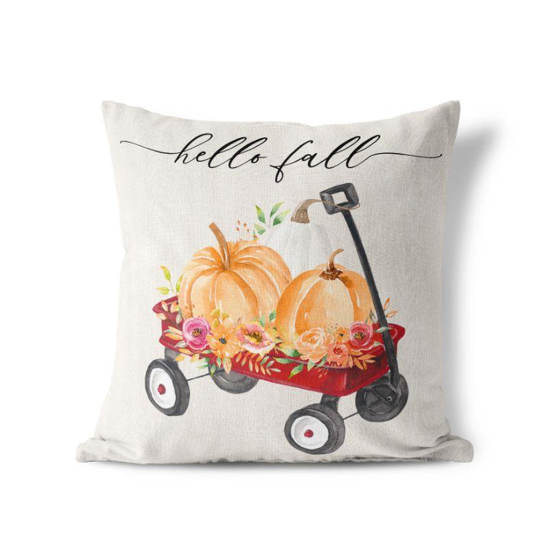 "Hello Fall Wagon - Square Pillow Cover - 17""x17""-"