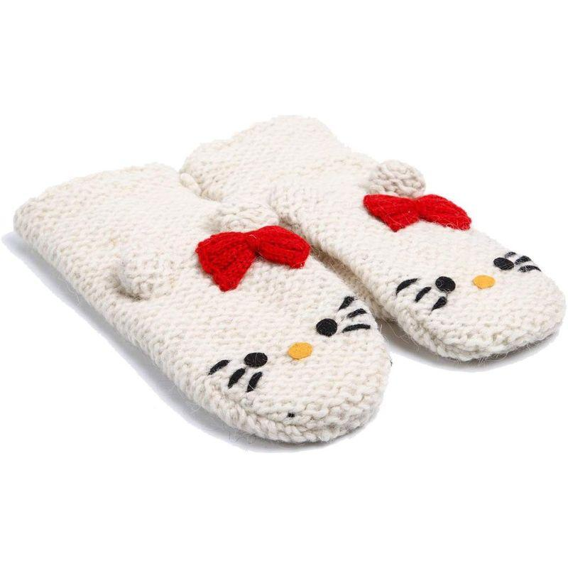 Hello Kitty Delux Knitwits Kids Mittens-White-Daily Steals