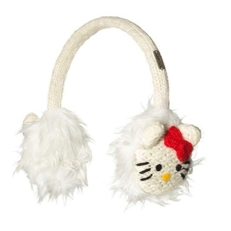 Hello Kitty Delux Knitwits White Adjustable EarMuffs-Daily Steals