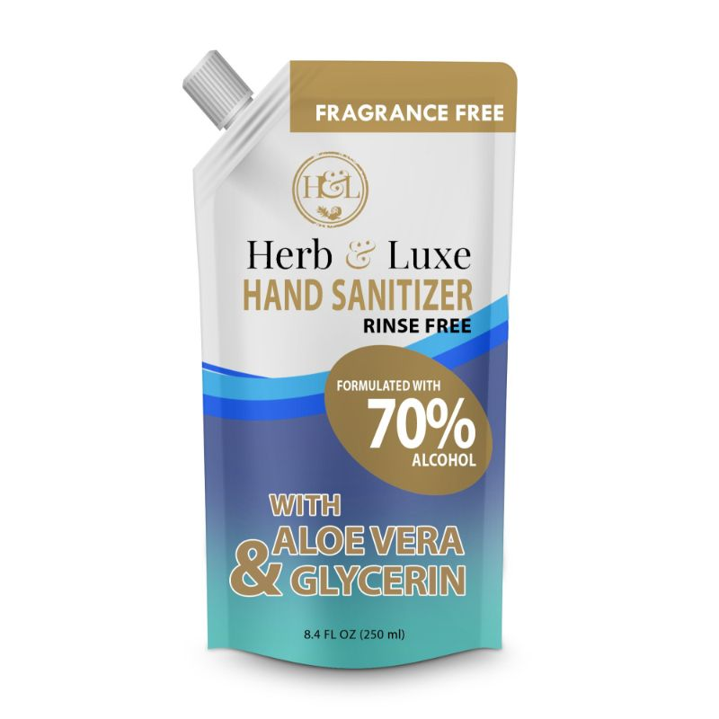Herb and Luxe Fragrance Free Hand Sanitizer With Aloe Vera 8.4 oz - 10 Pack