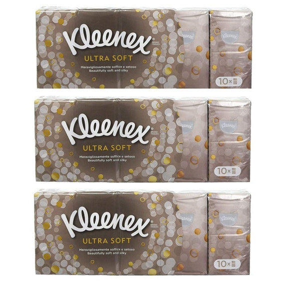 Kleenex Soft & Strong Facial Tissues, Pocket Pack, 9 ct, 10 Pack - 30 Pack-Daily Steals