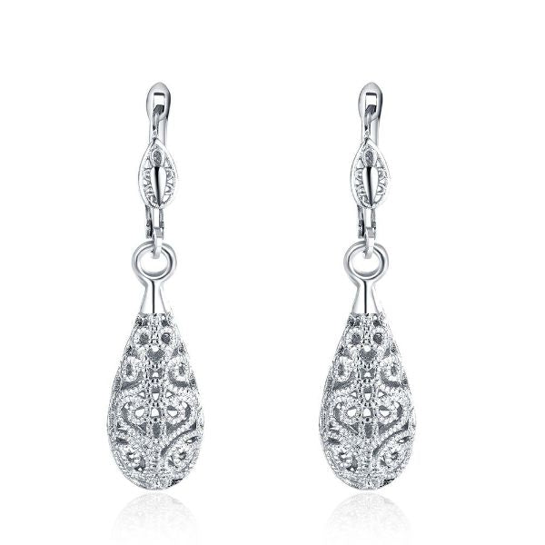18K Gold Laser Cut Filigree Drop Earrings-White Gold-Daily Steals