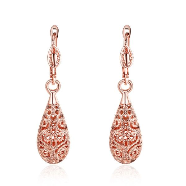 18K Gold Laser Cut Filigree Drop Earrings-Rose Gold-Daily Steals