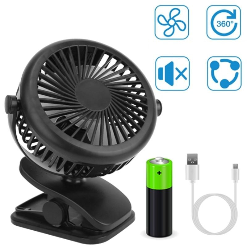 3 Speed USB Rechargeable Mini Cooling Fan Clip On
