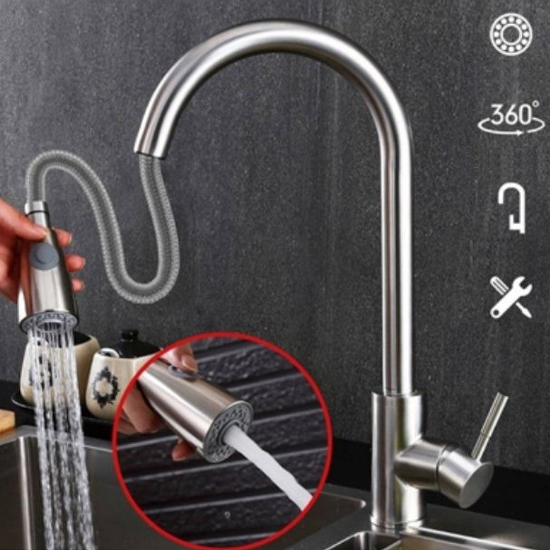Stainless Steel Pulldown Head Faucet with Flexible Pullout Sprayer