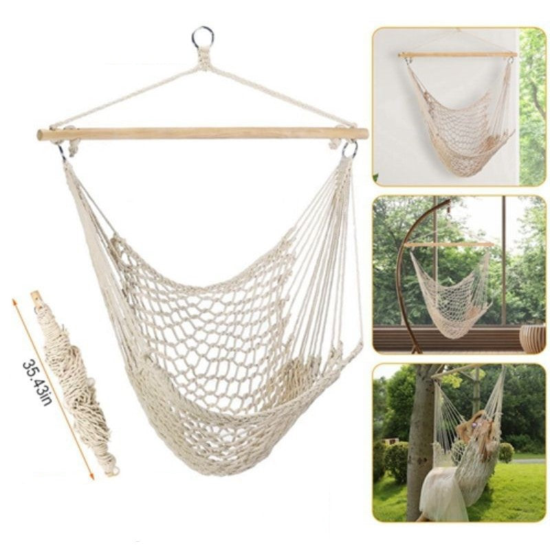 Hanging Rope Hammock Chair Swing with Spreader Bar
