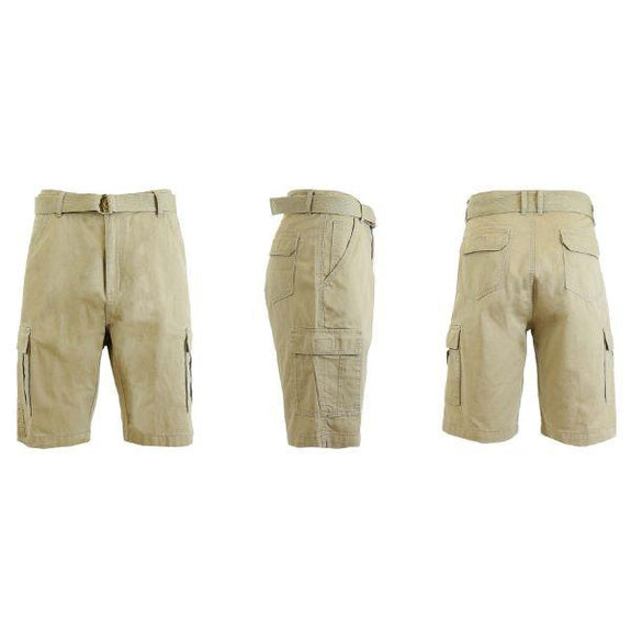 Men's Cotton Cargo Shorts with Tonal D-Ring Belt-Khaki-30-Daily Steals