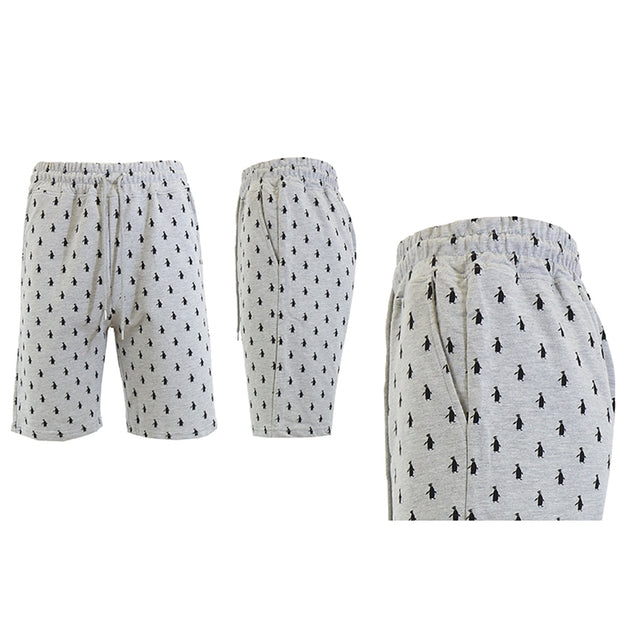 Shorts de felpa francesa estampados para hombre - Tallas S-2X-Heather Grey Penguins-M-Daily Steals