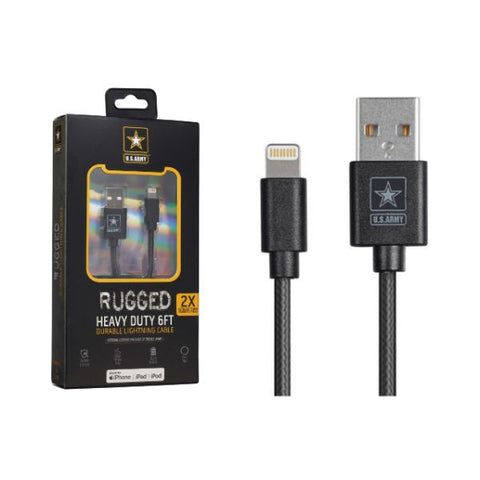 Daily Steals-U.S. ARMY Heavy Duty Rugged 6FT Durable MFI Lightning Cable-Cell and Tablet Accessories-Single Pack-