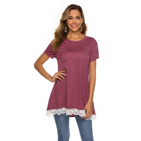 Women's Long Lace Trim Top by Lilly Posh-Pink-2XL-Daily Steals