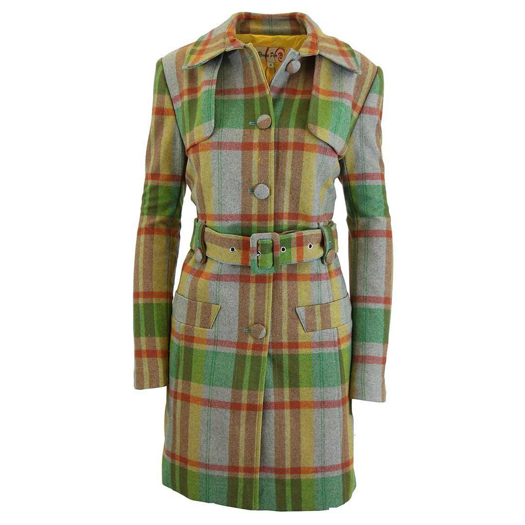 Women's Plaid Wool Trench Coat-Orange/Green-Large-Daily Steals