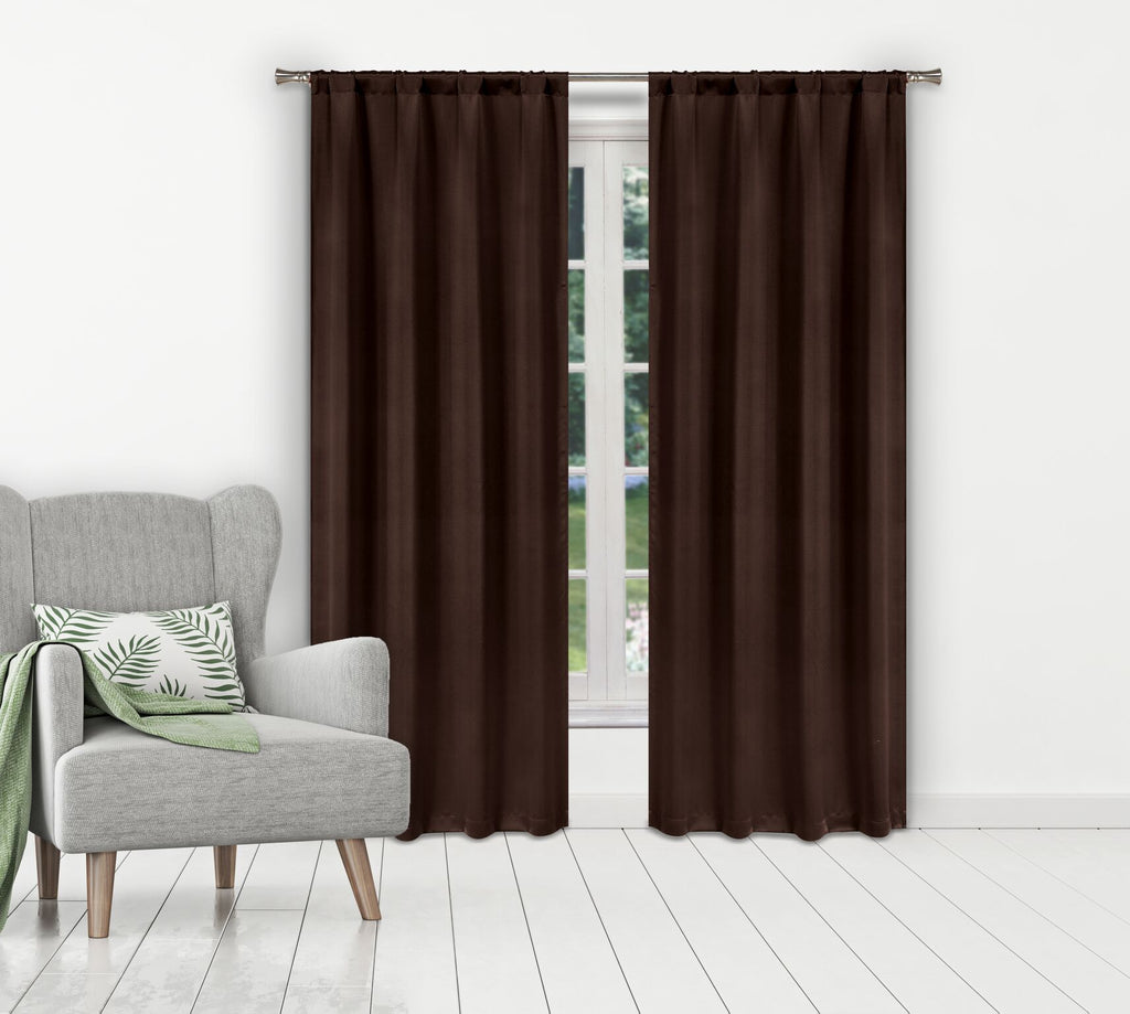 Solid Room-Darkening Double-Layered Window Panels (2-Pack)-Chocolate-Daily Steals