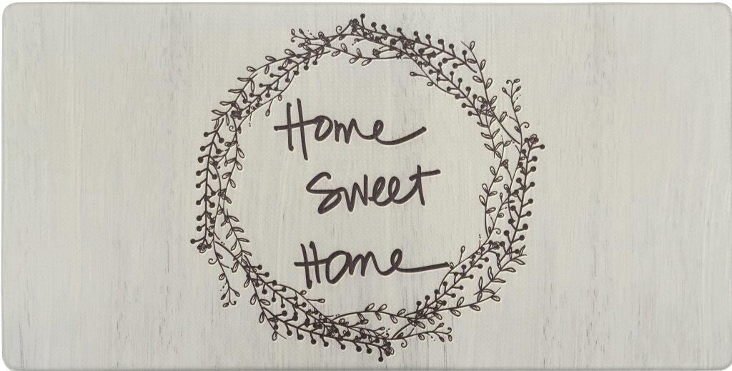 Oversized 20-Inch x 39-Inch Anti-Fatigue Embossed Floor Mat-HOME SWEET HOME WREATH-Daily Steals