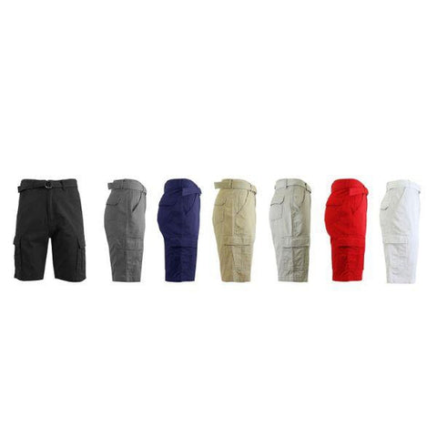 Men's Cotton Cargo Shorts with Tonal D-Ring Belt-Daily Steals