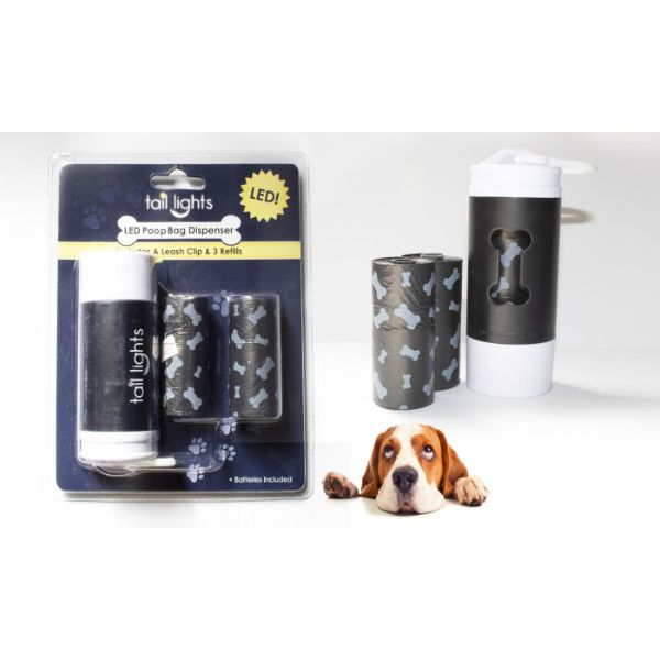 Daily Steals-Tail Lights LED Poop Bag Dispenser with Leash Clip and Refills-Pets-Black-