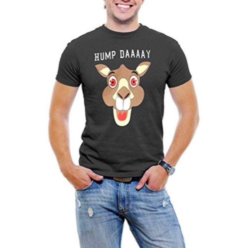 """Hump Day!"" Happy Camel Face Men's T-Shirt-Black-3XL-Daily Steals"