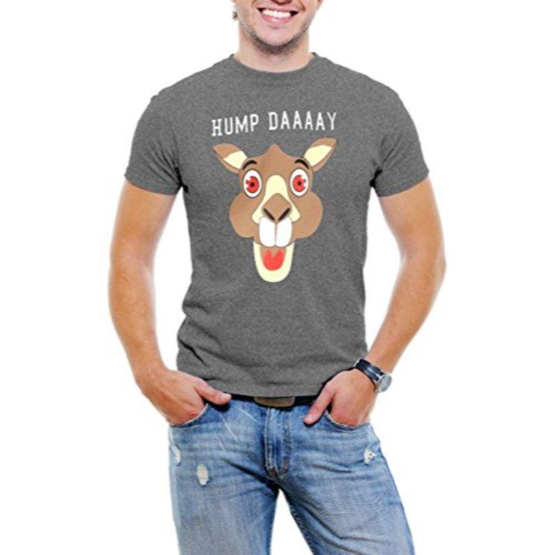 """Hump Day!"" Happy Camel Face Men's T-Shirt-Grey-3XL-Daily Steals"
