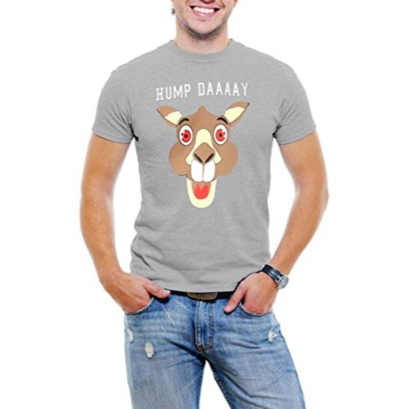 """Hump Day!"" Happy Camel Face Men's T-Shirt-Light Gray-3XL-Daily Steals"