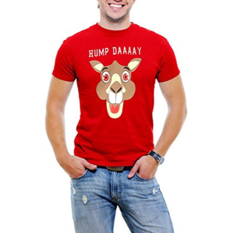 """Hump Day!"" Happy Camel Face Men's T-Shirt-Red-3XL-Daily Steals"
