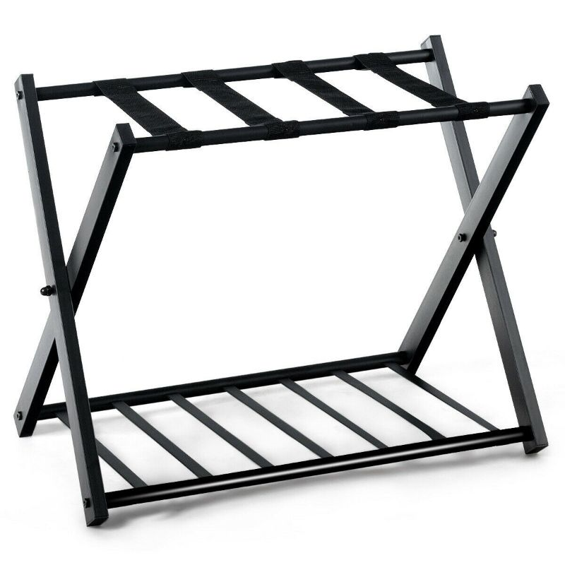Folding Metal Luggage and Suitcase Racks - Set of 2-Daily Steals