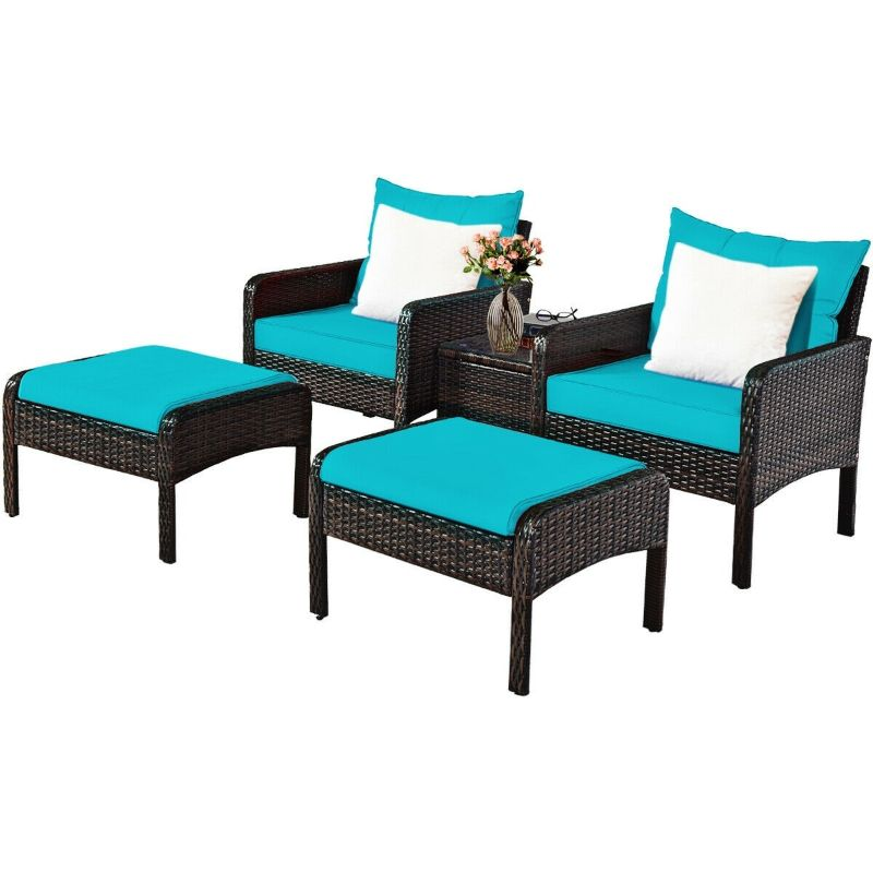 Patio Rattan Furniture Set Sofa - 5 Piece