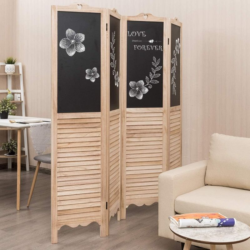 4 Panel Folding Privacy Room Divider Screen with Chalkboard