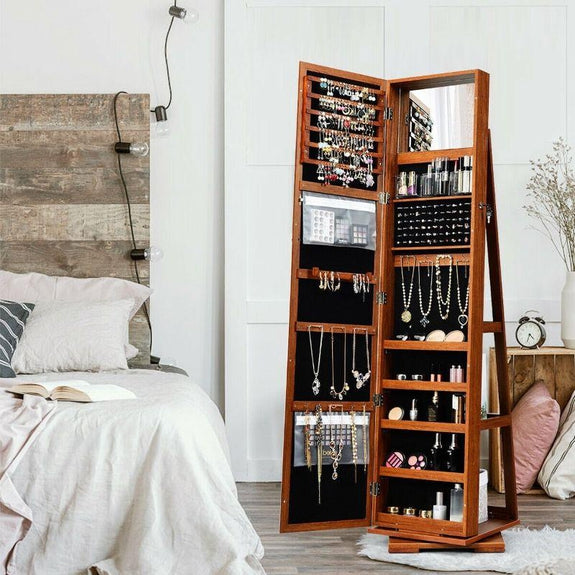 360° Rotatable Armoire 2-in-1 Lockable Mirrored Jewelry Cabinet-Daily Steals