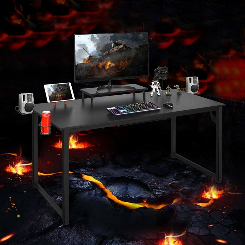 Gaming Desk with Monitor Shelf Tablet Board - 63 inches