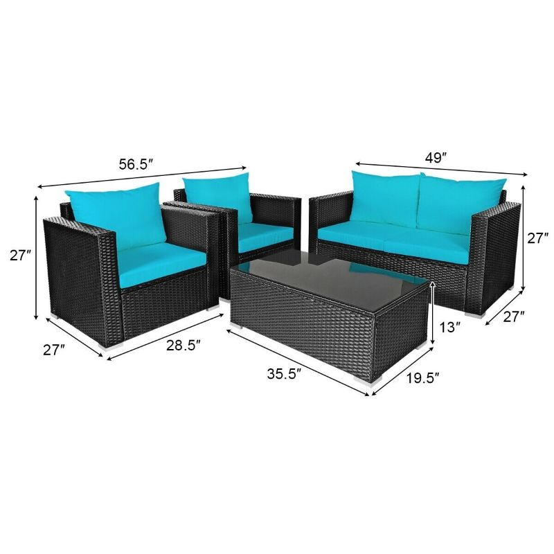 Patio Rattan Turquoise Cushioned Furniture Set - 4 Pieces