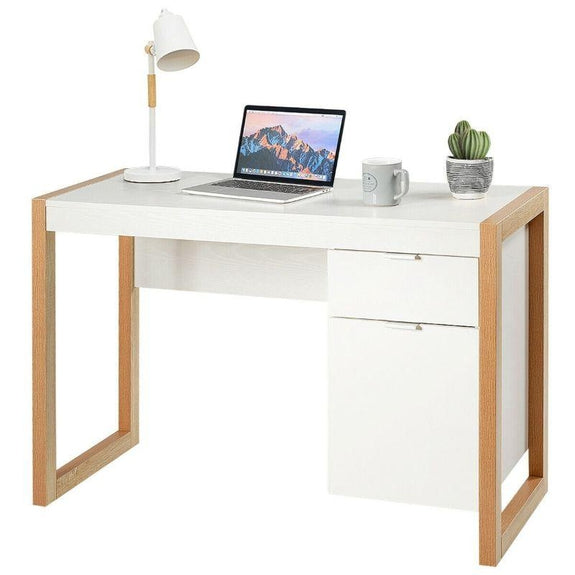Modern Computer Study Desk with Cabinet and Drawer-Daily Steals