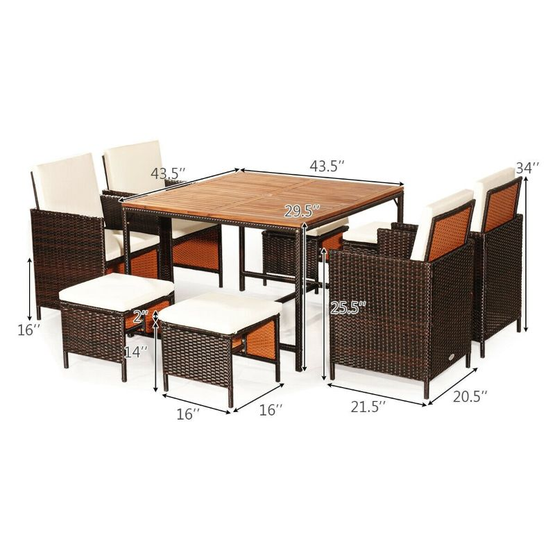 Patio Rattan Dining Cushioned Chair Set - 9 Piece