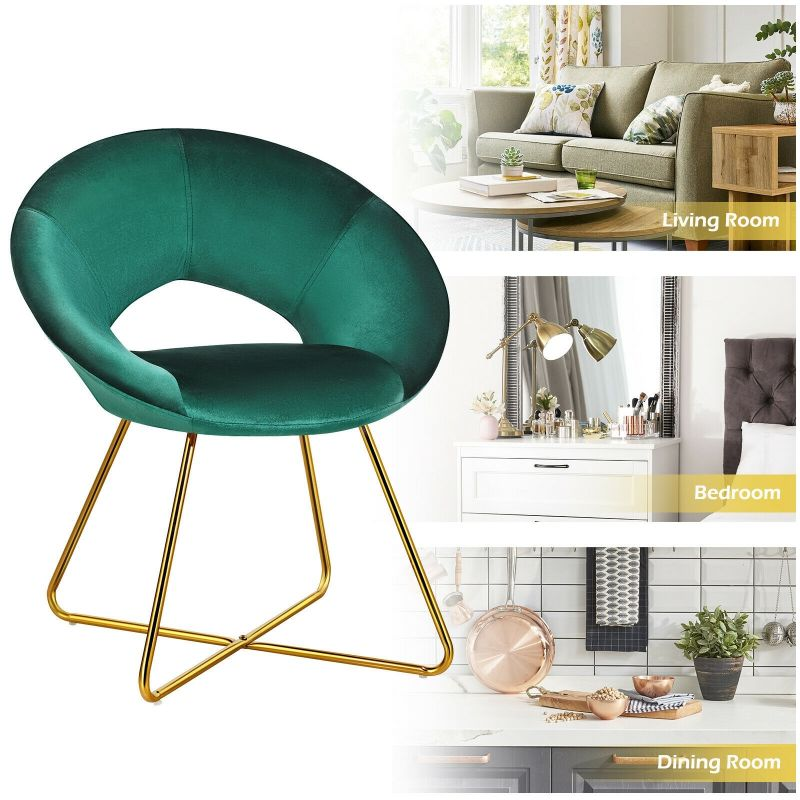 Retro Velvet Accent Chair with Gold Metal Legs and Soft Cushion