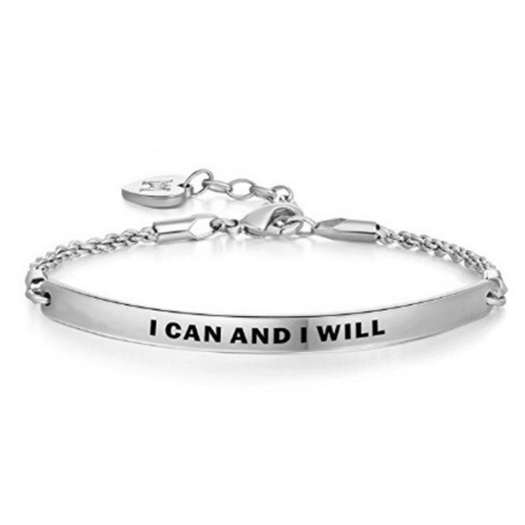 Daily Steals-I Can And I Will Inspirational White Gold-Plated Bracelet-Jewelry-