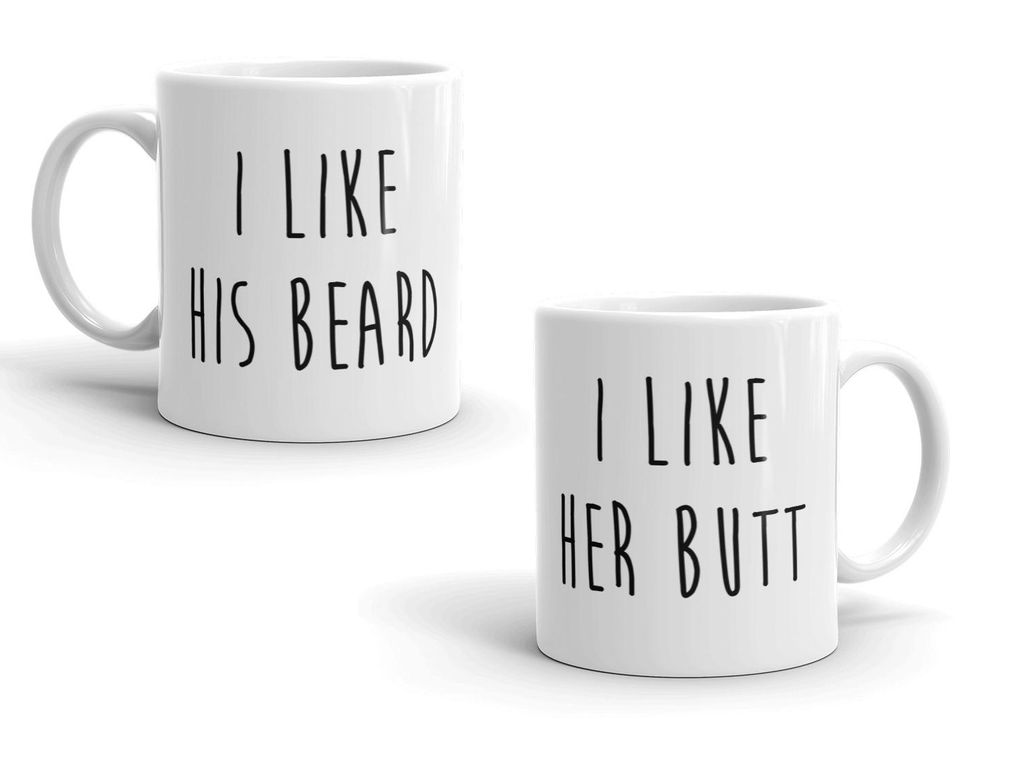Daily Steals-I Like Her Butt I Like His Beard Matching Couples Valentine's Day 11 Ounce Coffee Mugs-Accessories-