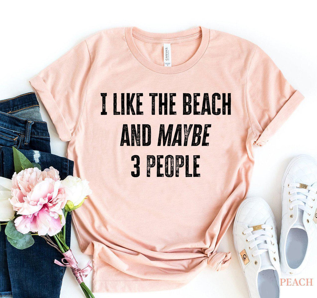 I Like The Beach And Maybe 3 People T-shirt-L-Black-
