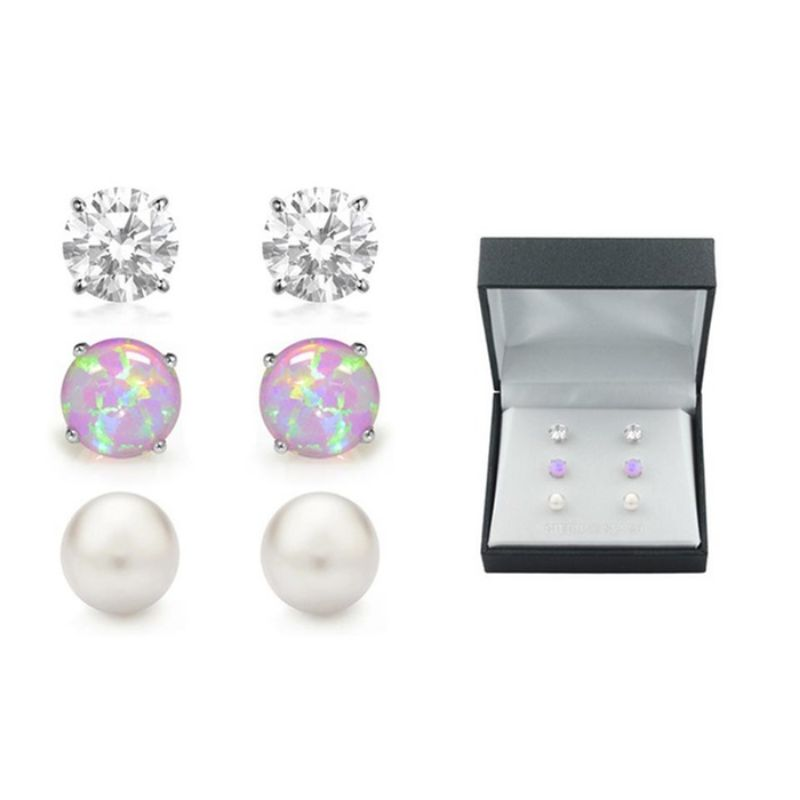 Pink Opal, Pearl and Knot Stud Set In a Box-Daily Steals