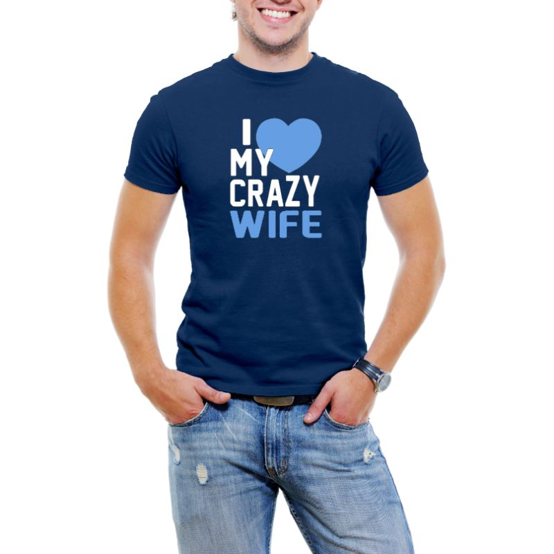 """I Love My Crazy Wife"" Men's T-Shirt-Navy Blue-4XL-Daily Steals"