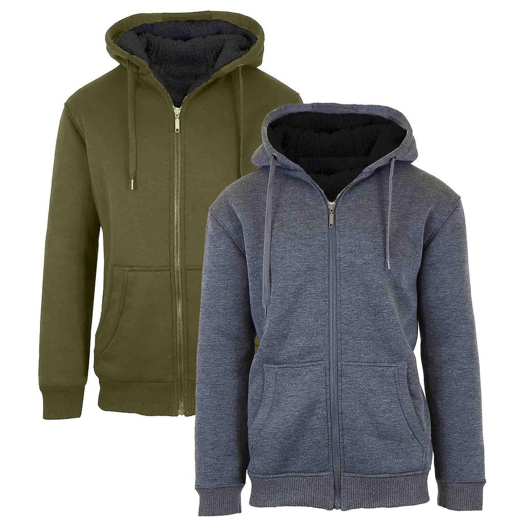 Men's Heavyweight Sherpa Fleece-Lined Zip Hoodie - 2 Pack-Charcoal & Olive-XL-Daily Steals