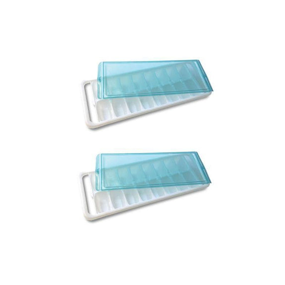 Ice Cube Trays With Silicone Bottom For Removal Or With A Lid-2 Pack-With A Lid-