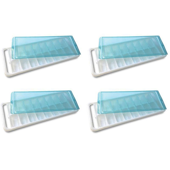 Ice Cube Trays With Silicone Bottom For Removal Or With A Lid-4 Pack-With A Lid-