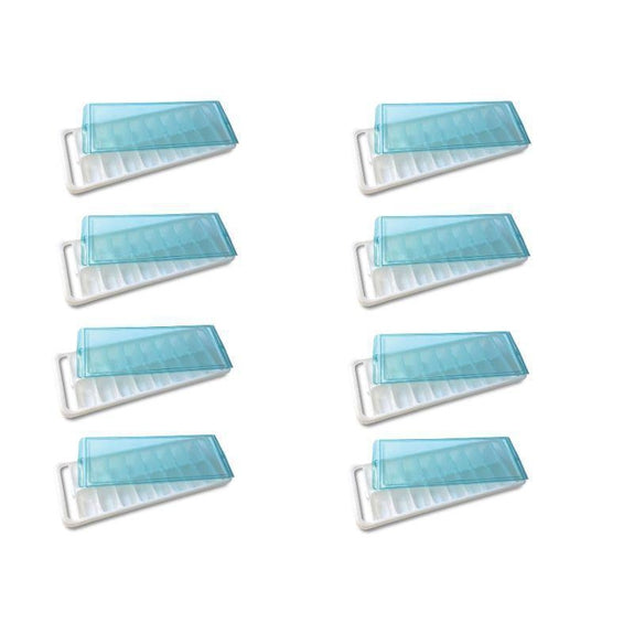 Ice Cube Trays With Silicone Bottom For Removal Or With A Lid-8 Pack-With A Lid-