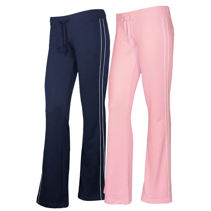 Women's French Terry Comfy Sweatpants - 1 or 2 Pack-Navy + Pink-2 Pack-L-Daily Steals