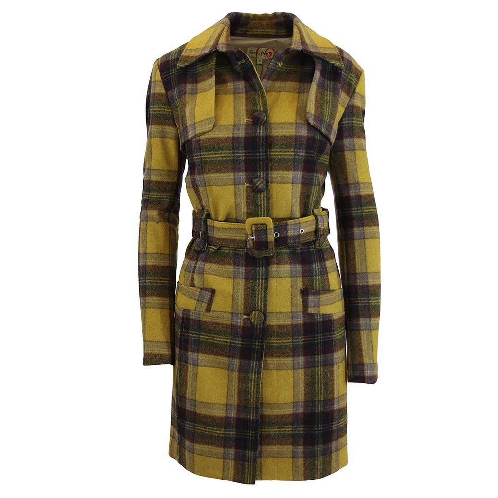 Women's Plaid Wool Trench Coat-Dark Yellow/Brown-Large-Daily Steals