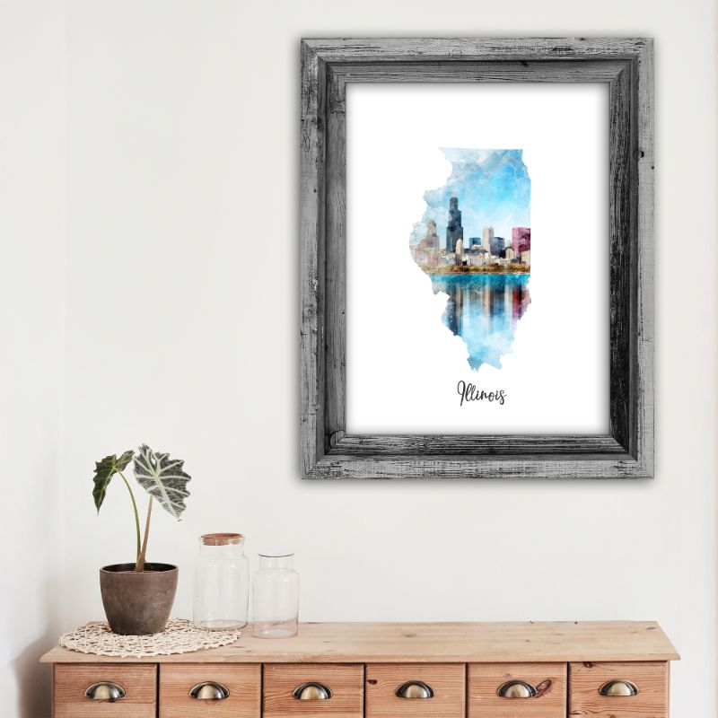 "Illinois Watercolor Map Print - Unframed Art Print-12""x16""-Vertical/Portrait-Daily Steals"