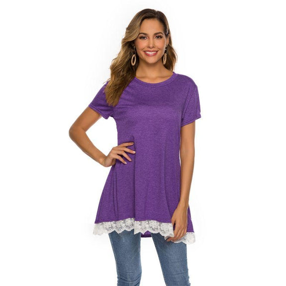 Women's Long Lace Trim Top by Lilly Posh-Purple-2XL-Daily Steals