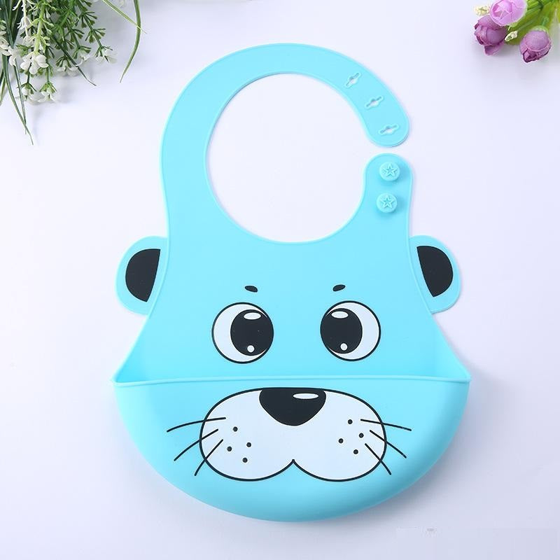 Silicone Baby Bib with Cute Characters-Blue Panda-Daily Steals